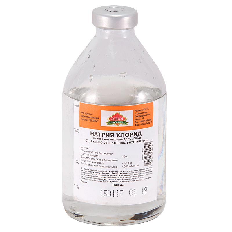 Натрия хлорид, раствор для инфузий 0,9%: инструкция по применению, показания.